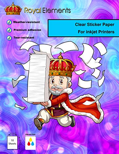 Royal Elements Waterproof Printable Vinyl Sticker Paper for Inkjet Printer - 10 Sheets - Translucent Clear