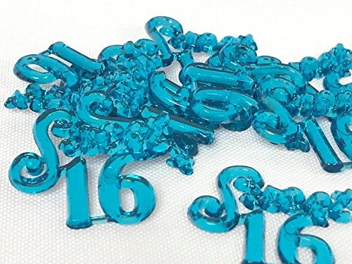 (96 Turquoise Sweet 16 Charms Embellishment Number for Capias Favors Acrylic Confetti)