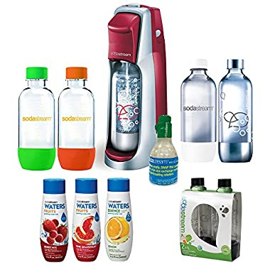 SodaStream Fountain Jet Soda Maker in Red w/ Exclusive Kit w/ 4 Bottles & Starter CO2, 1L Carbonating Bottles Black, water Fruits w/ Berry Mix & Pink Grapefruit Flavor & Waters Essence w/ Lemon Flavor