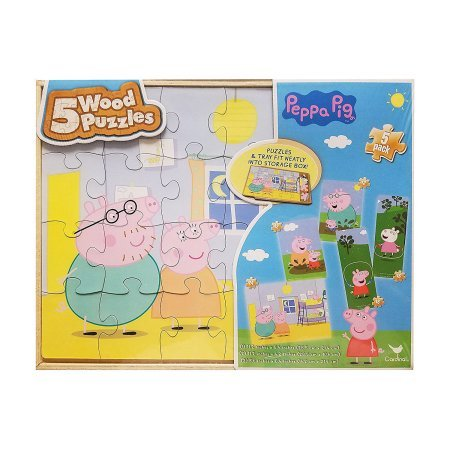 Peppa Pig 5 Wooden Puzzle in 1 for Kids (Pig Halloween Costume Homemade)