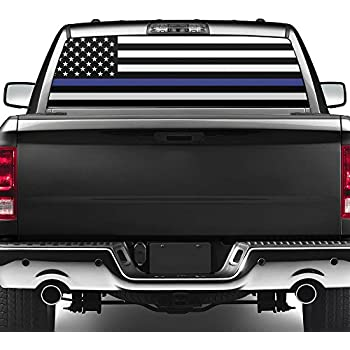 Amazoncom Truck SUV Police Thin Blue Line Flag Rear Window - Rear window decals for vehicles