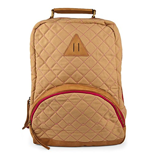 Embossed Portfolio Mini (Nila Anthony Beige & Pink Trim Diamond Quilted Backpack)