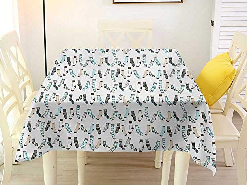 L'sWOW Square Tablecloth Cartoon Messy Teenager Kids Room Rain of Socks Laundry Themed Funny Art Beige Dark Blue and Aqua Blue Quilted 54 x 54 Inch