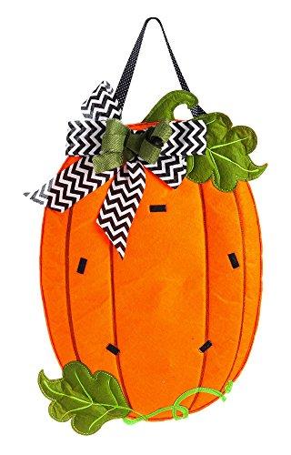 Evergreen Pumpkin Monogram Outdoor Safe Felt Door Decor Picture