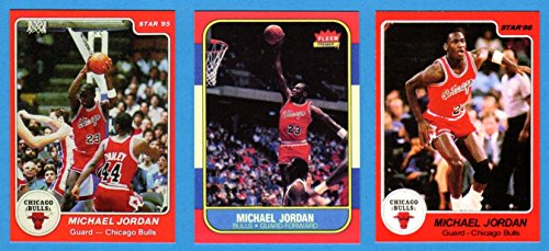 (Michael Jordan (3) Card Lot 1985 Star Rookie, 1986 Star and 1986-87 Fleer Basketball Rookie Reprint Cards (Bulls) )