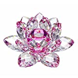 Amlong Crystal Hue Reflection Crystal Lotus Flower with Gift Box, Pink (4 Inch)