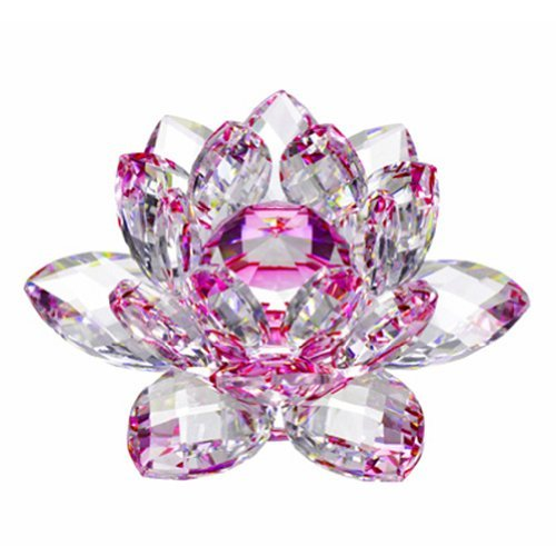 Amlong Crystal Hue Reflection Crystal Lotus Flower with Gift Box, Pink (4-Inch)