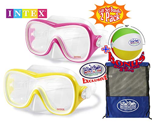 Intex Aquaflow Sport Wave Rider Swim Masks (Goggles) Yellow & Pink Gift Set Bundle with Bonus Matty's Toy Stop 16