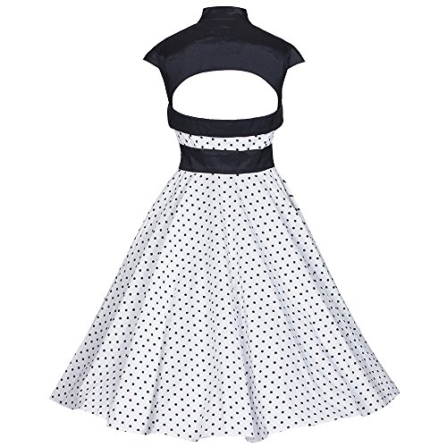 Pretty Kitty Fashion - Robe -  - À pois Femme Blanc white black polka dot