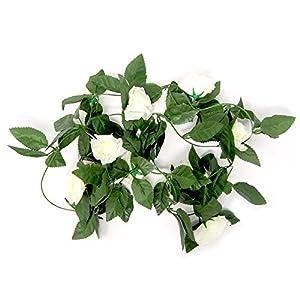 Homeford Artificial Rose Silk Flower Vine Garland, Ivory, 78-Inch 1