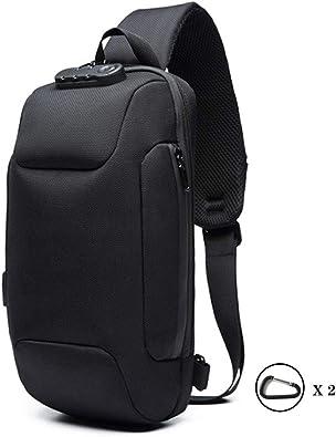 Black Mens Chest Bag Multifunctional Anti-Theft Waterproof Shoulder Messenger Bag Business Travel Chest Bag