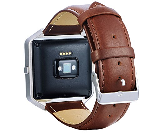 KingBaas For Fitbit Blaze Bands, Premium Genuine Leather Watch Band With Stainless Steel Frame for Fitbit Blaze/Fitbit Blaze Band,Black,Brown,Blue (No Tracker)
