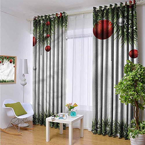 HouseLook Christmas Treatment Solid Grommet Curtains Tree Balls Ornaments Room Darkening Blackout Window Curtains W63 x L45 inch