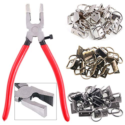 """Swpeet 36 Sets 1"""" 25mm 3 Colors Key Fob Hardware with 1Pcs Key Fob Pliers, Glass Running Pliers Tools with Jaws, Studio Running Pliers Attach Rubber Tips Perfect for Key Fob Hardware Install"""