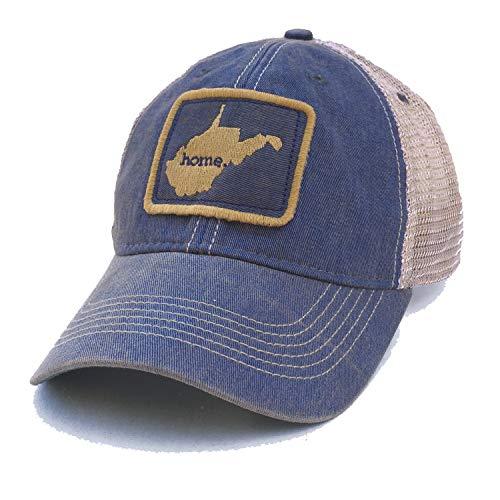 (Homeland Tees Men's West Virginia Home Mesh Trucker Hat - Blue/Gold)