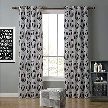 Image of alilihome Blackout Curtain Best Home Fashion 120 by 108 Inch Boys Room,Pattern Vivid Graphic Soccer Balls Sports Icon Athletics Hobbies,Charcoal Grey White Home and Kitchen