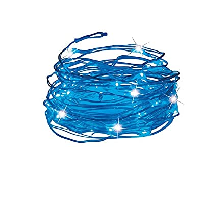"""Outdoor Decorations Solar Powered Outdoor Light String with 50 Blue Lights, 219"""" L Cable, Deck, Porch, Patio, Blue"""