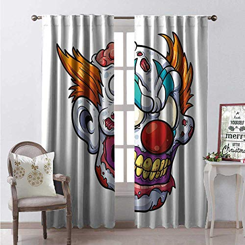 Hengshu Scary Blackout Window Curtain Zombie Clown Head in Cartoon Style Evil Monster Scars Halloween Horror Mascot Customized Curtains W96 x L96 Multicolor]()