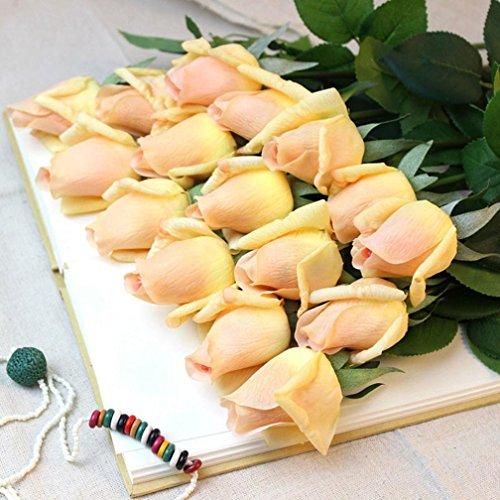 Mikey Store Artificial Fake Silk Flower Leaf Velvet Rose For Home Wedding Decor Bridal Bouquet (Yellow) - Red Medium Stem Rose Bouquet