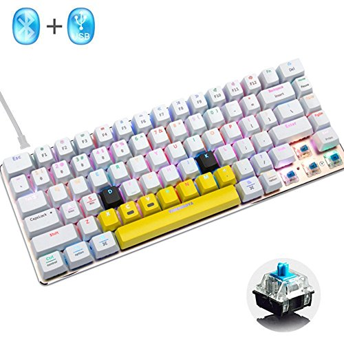 LexonElec Wireless and Wired Gaming Keyboard Ajazz AK33 Bluetooth 2.4 GHz RGB LED Backlit 82 Keys Mechanical Pro Gamer Keypad Built in 2300mA Rechargeable Battery (White & RGB LED, Blue Switch)