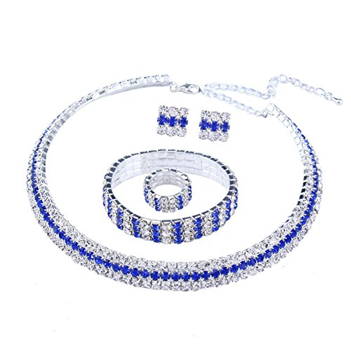Santfe Crystal Rhinestone Choker Necklace Earrings Bracelet Ring Jewelry Set for Wedding Bridal Prom Party (Blue) - Blue Bridal Jewelry
