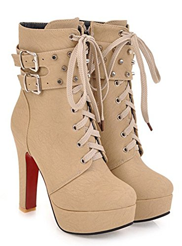 Aisun Women's Studded Buckled Stylish Round Toe Lace Zip Up Chunky High Heel Platform Short Boots - stylishcombatboots.com