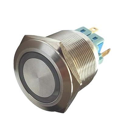 1NO 1NC Interruptor de Botón Pulsador Acero Inoxidable LED ...