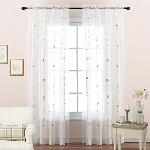 NICETOWN Sheer Curtains 63 Inches Long - Floral Embroidered Voile Sheer Window Curtains/Drapes for Bedroom (One Pair, W60 x L63, (Floral Embroidered Curtain)
