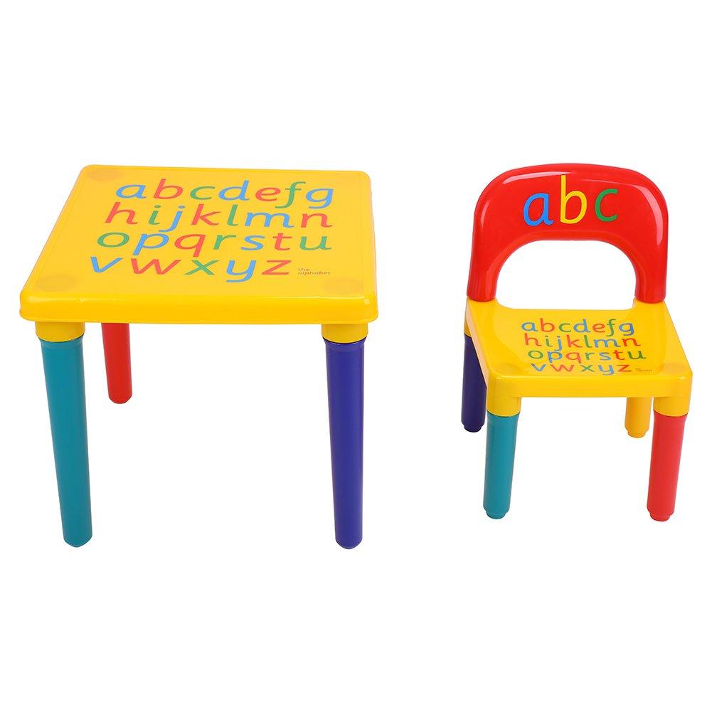 Cocoarm Tavolino Sedia Bambini Set Tavolo e Sedia Bambini in Plastica con Lettere Stampate sulla Superficie per Classe Camera da Letto e Sala Giochi per Bambini