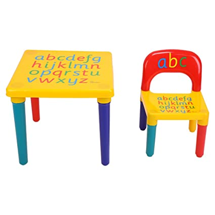 Yosoo Toddler Table and Chair Set, 2 Pieces Alphabet Children Table & Chairs in-Outdoor Plastic DIY Kids Set Play Toddler Activity Fun Child Toy Gift