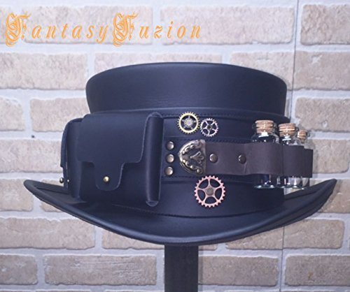 Steampunk Hat Futurist Traveller Gears Standard Leather Top Hat with Pockets and Glass Vials Band