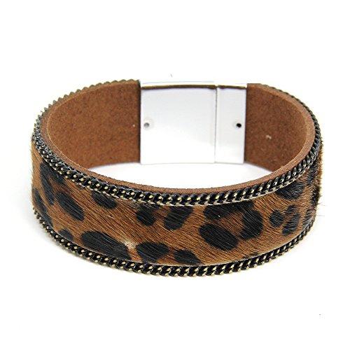 Me Plus Women's Leopard Pattern Wide Wrap Faux Leather Magnetic Bracelet (Brown)
