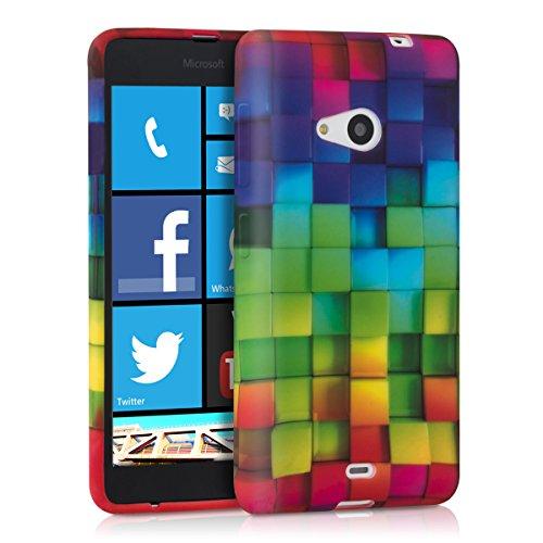 kwmobile TPU SILICONE CASE for Microsoft Lumia 535 Design rainbow cubes multicolor green blue - Stylish designer case made of premium soft TPU