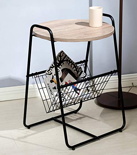 Salafey Modern Round Sofa Side Table End Table, Nightstand with Metal Storage Basket,Wood Look Accent Furniture for Bedroom Living Room - Amazon ()