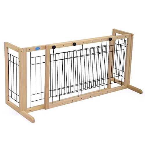 Cheap JAXPETY Pet Fence Gate Free Standing Adjustable Dog Gate Indoor Pine Wood Construction,Light Wood