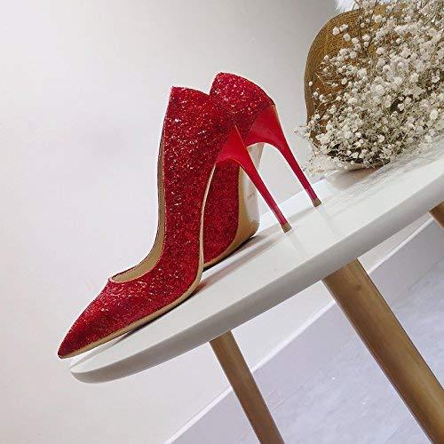 Eeayyygch Gericht Schuhe Spitzen Spitzen Spitzen Schuhe Hochzeit Schuhe weibliche Brautschuhe Hochzeit Erwachsenen Geldstrafe mit Mädchen High Heels (Farbe   35, Größe   rot 10CM) 1a4134