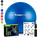 URBNFit Exercise Ball (Multiple Sizes) for Fitness, Stability, Balance & Yoga - Workout Guide & Quick Pump Included - Anit Burst Professional Quality Design (Blue, 45CM)