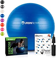 URBNFit Exercise Ball (Multiple Sizes) for Fitness, Stability, Balance & Yoga - Workout Guide & Quick Pump Included - Ant...