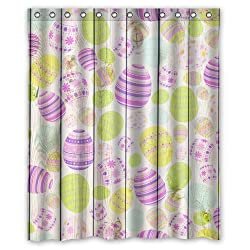 Custom Easter Day Waterproof Polyester Fabric 60(w) x 72(h) Shower Curtain and Hooks