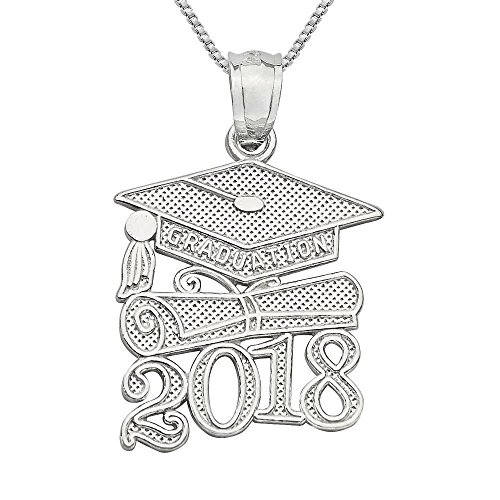 Sterling Silver 2018 Graduation Cap Diploma Charm / Pendant, Made in USA, 18