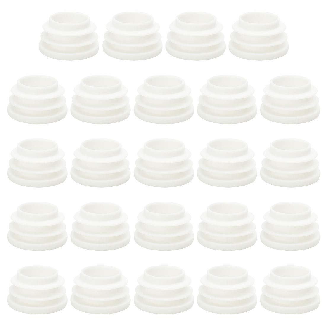 uxcell 1' 25mm OD Plastic Round Ribbed Tube Insert Pipe End Cover Cap White 24pcs, 0.87'-0.94' Inner Dia, Furniture Chair Table Feet Floor Protector