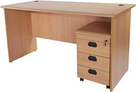 Mahmayi Grigio Office Desk With Mobile Drawers - Desk Table With 2 Grommets For Wire Management - Includes 3 Drawer Mobile Storage Unit - Round Edge Profile (120cm, Beige)