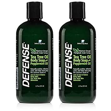 Defense Soap Peppermint Body Wash Shower Gel 12 Oz – Natural Tea Tree Eucalyptus Peppermint Oil Pack of 2