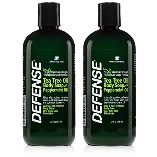 Defense Soap Peppermint Body Wash Shower Gel 12 Oz - Natural Tea Tree Eucalyptus Peppermint Oil (Pack of 2) (Best College Wrestlers Of All Time)