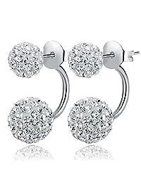 Jade Angel 925 Silver Fashion Double Rhinestone Cubic Zircon Ball Stud Earrings
