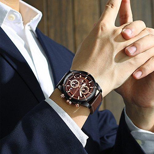MINI FOCUS Fashion Watch Men s Sport Waterproof Watch with Leather Strap Calendar Date Watches Business Quartz Wrist Watch for Men