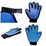 Pet Grooming Glove ,2-in-1 Gentle Deshedding Brush Glove Tool,Pet Shedding Hair Remover, Pet Massage and Bathing Brush or Comb, Perfect for Dogs ,Cats &horse with Long & Short Fur(1 Pair)