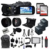 Canon VIXIA HF G40 Full HD Camcorder + Mic + 3x Batteries + 128GB + Video Light + Backpack Case + Tripod + Monopod + XGrip + SD Reader + Professional Accessory Bundle Kit