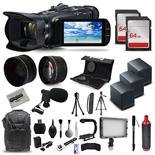 Canon VIXIA HF G40 Full HD Camcorder + Mic + 3x Batteries + 128GB + Video Light + Backpack Case + Tripod + Monopod + XGrip + SD Reader + Professional Accessory Bundle Kit by 47th Street Photo