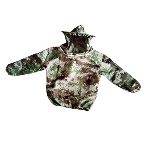 Fityle Beekeeper Beekeeping Protective Veil Suit Dress Jacket Smock Bee Hat, round hat design Camouflage#3